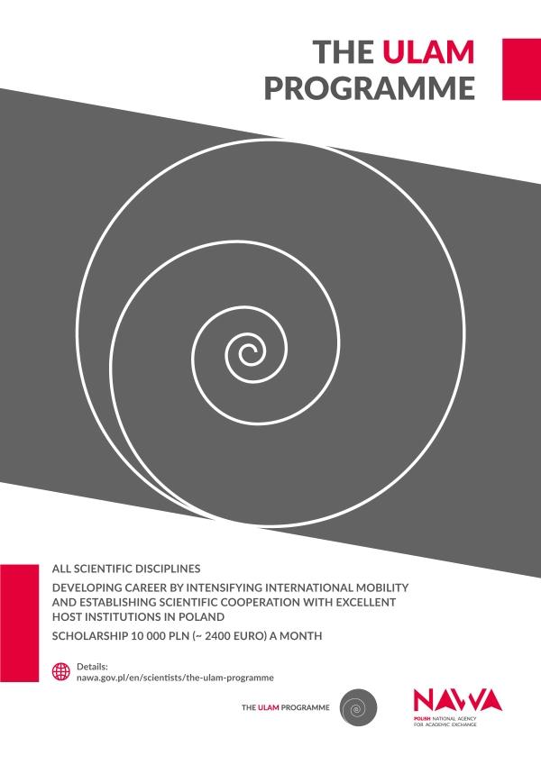 Plakat programu - logo w formie szarej spirali