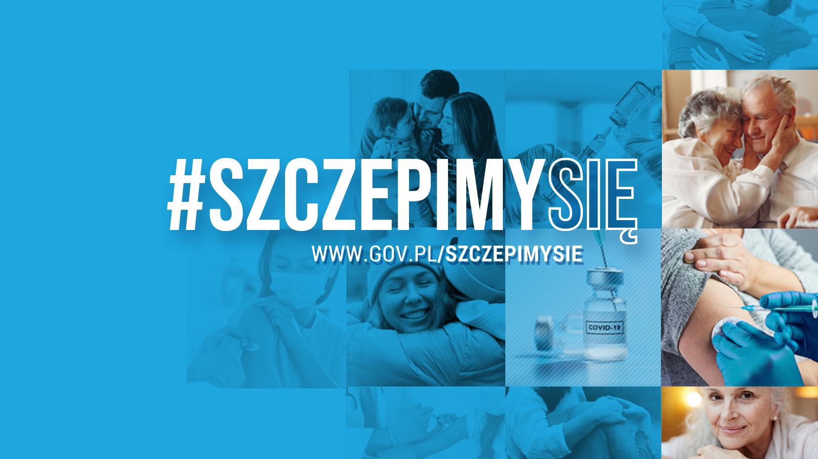 #szczepimysie - niebieska grafika w której tle znajduje się kilka fotografi obejmujących się ludzi, fiolka ze szczepionką