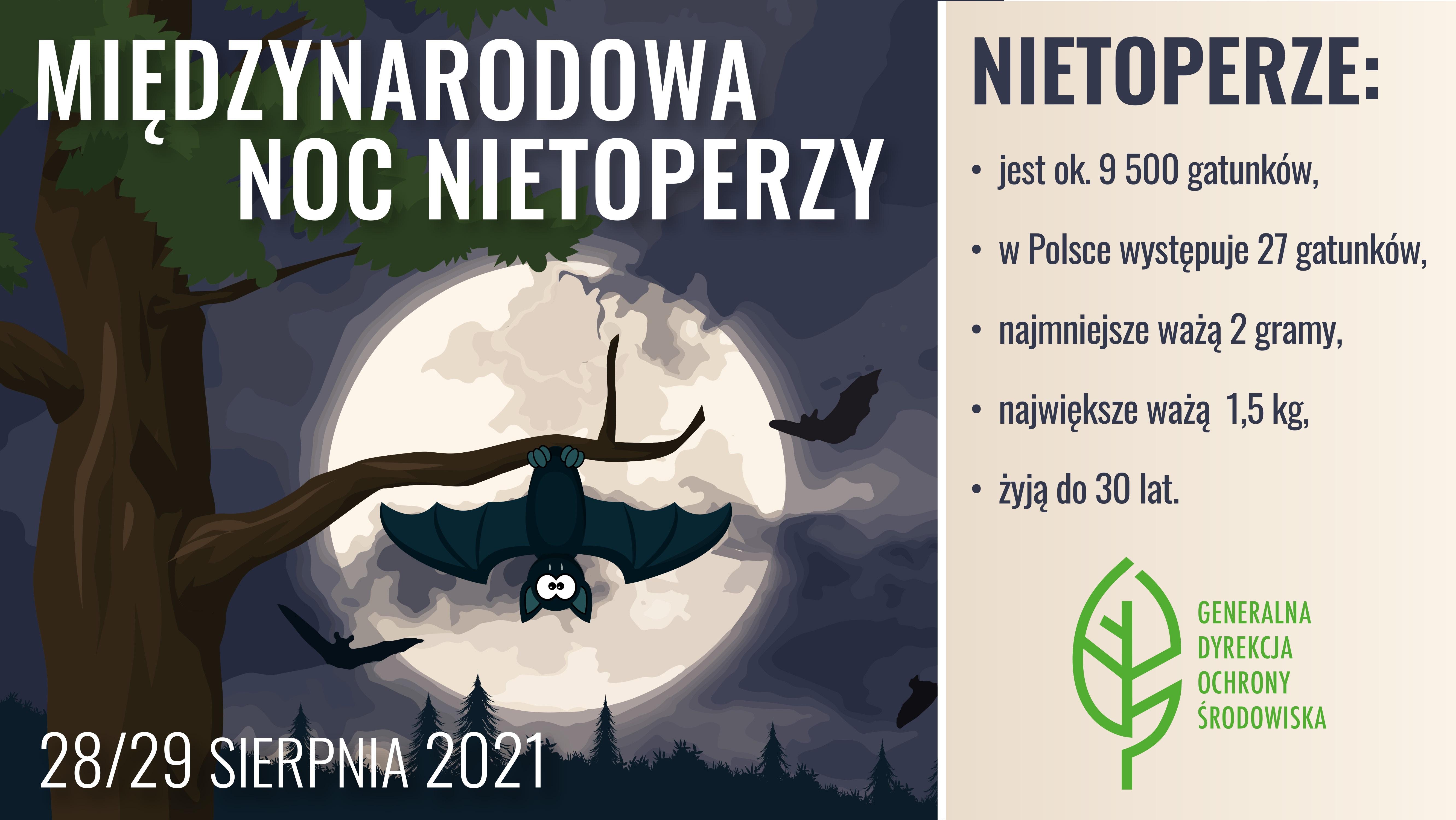 Rysunek nietoperza z informacją o Międzynarodowej Nocy Nietoperzy w dniach 28-29 sierpnia 2021. Na grafice wypisane są informacje: jest ok. 9500 gatunków nietoperzy, w Polsce występuje 27 gatunków, najmniejsze ważą 2 gramy, największe 1,5 kg, żyją do 30 lat
