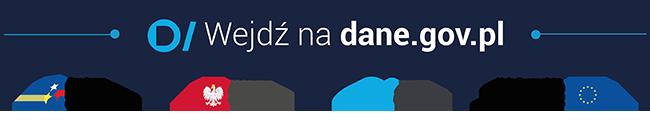 Przejdź do serwisu dane.gov.pl. Napis na banerze wejdź na dane.gov.pl, poniżej godło RP, flaga UE, znak graficzny danych publicznych i POPC