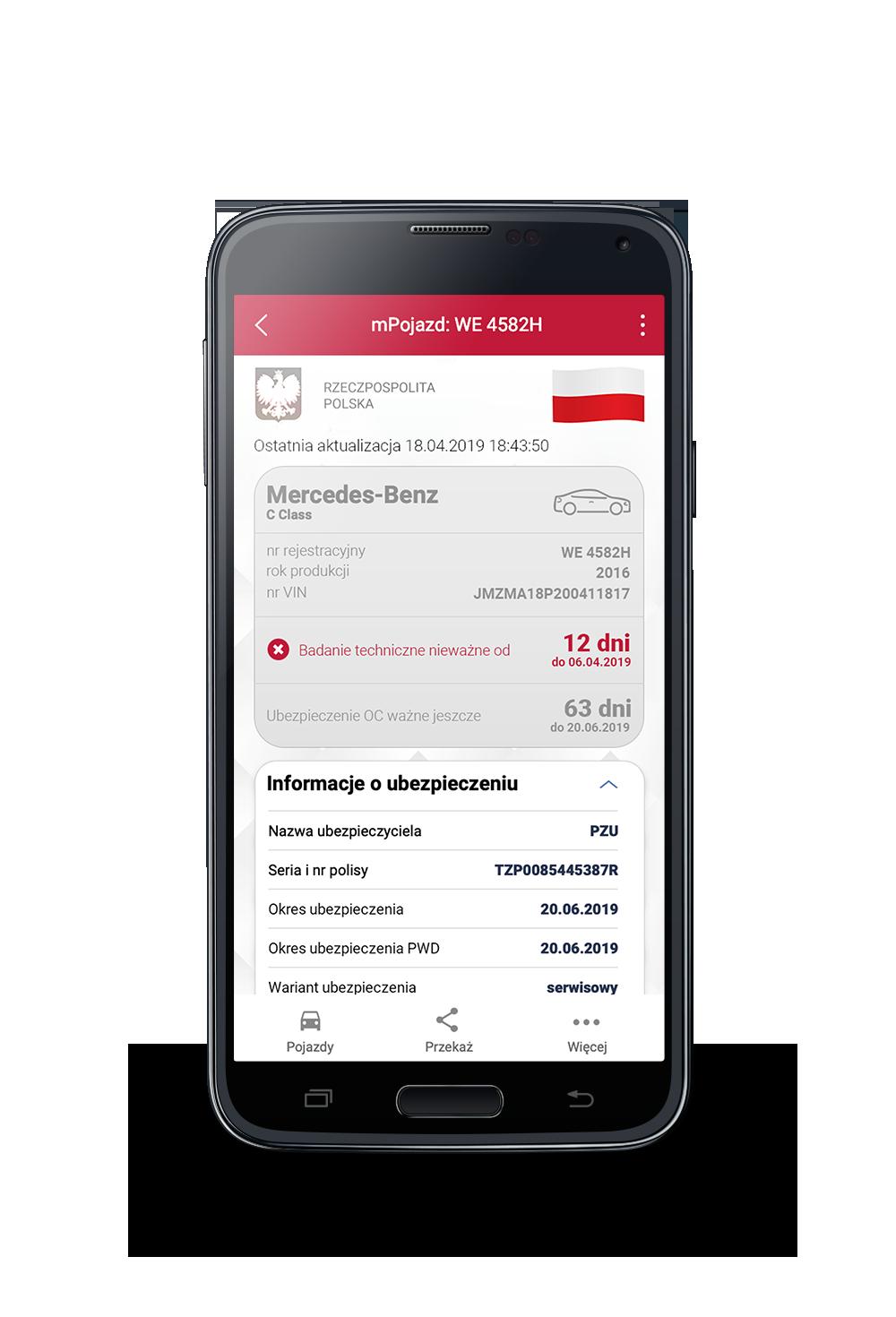 Zrzut ekranu aplikacji mObywatel - usługi mPojazd