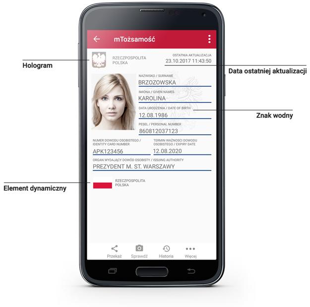 mTożsamość na ekranie telefonu. Widoczne zabezpieczenia: hologram, element dynamiczny, znak wodny, data ostatniej aktualizacji.