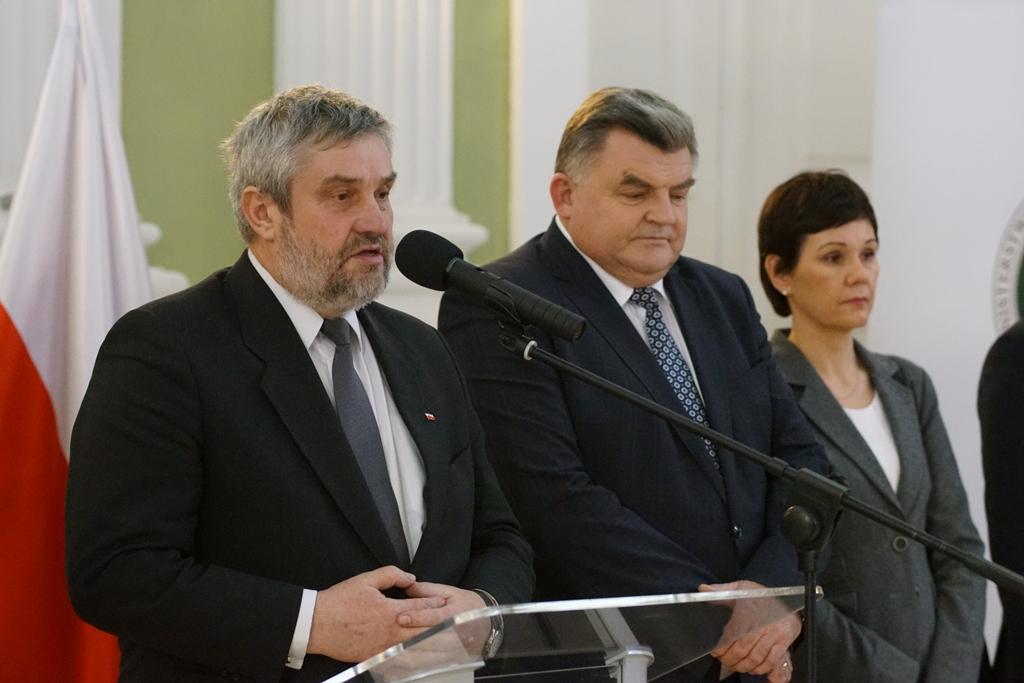 Minister Jan Krzysztof Ardanowski podczas spotkania