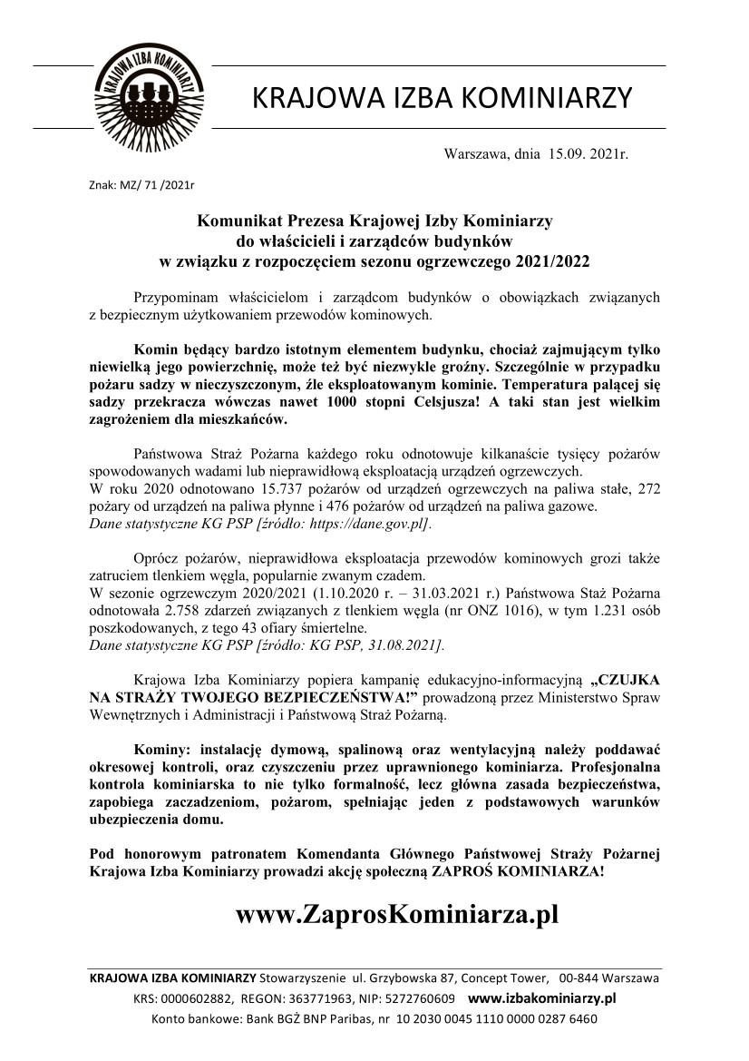 Komunikat Prezesa Krajowej Izby Kominiarzy 2021