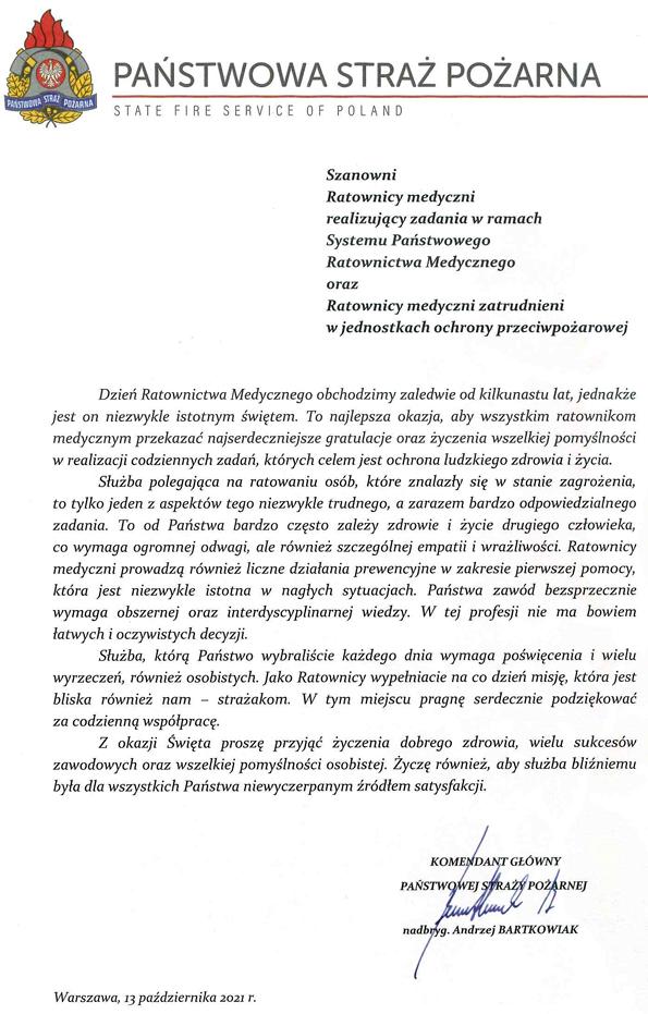 Życzenia Komendanta Głównego PSP z okazji Dnia Ratownictwa Medycznego