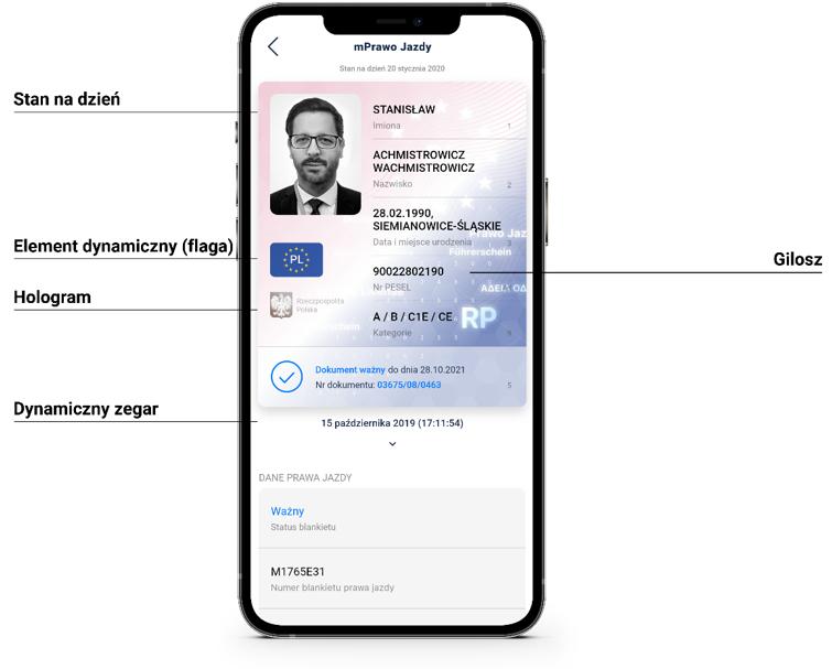 mPrawo jazdy - ekran smartfona z danymi wyświetlanymi na dokumencie