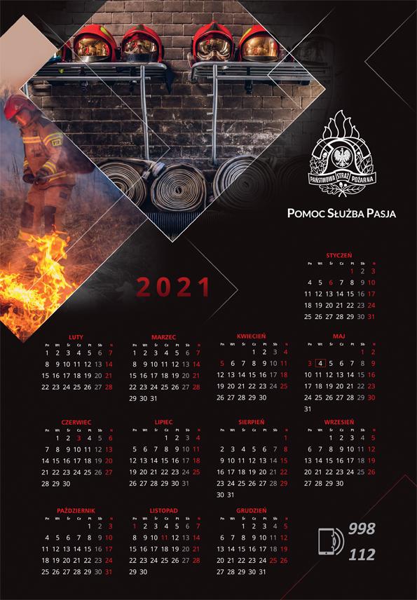 Kalendarz plakatowy KG PSP na rok 2021–przód