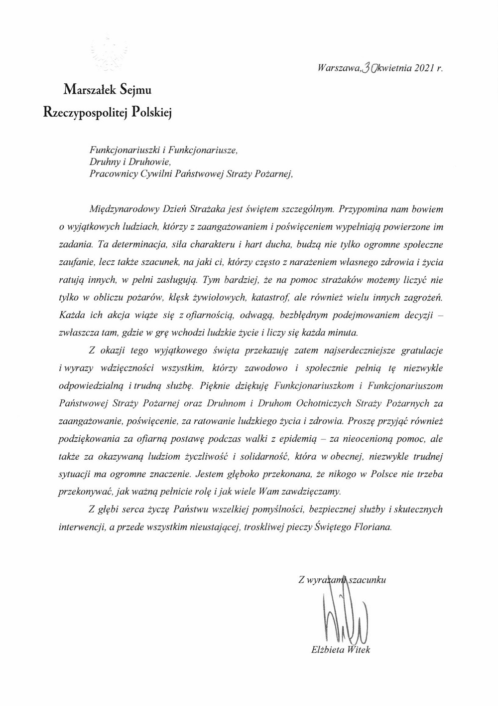 Życzenia pani Marszałek Sejmu RP z okazji Dnia Strażaka