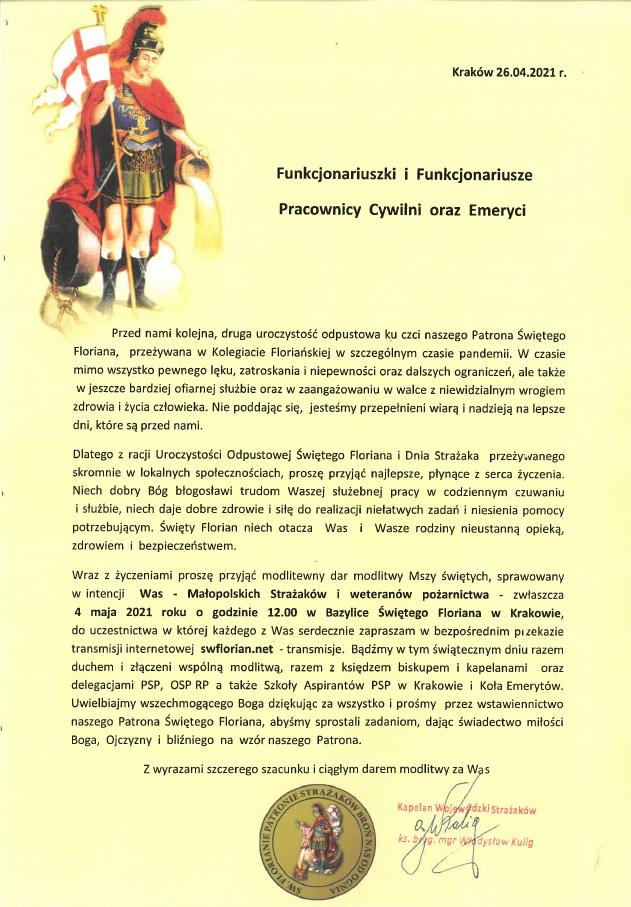 Życzenia Wojewódzkiego Kapelana Strażaków