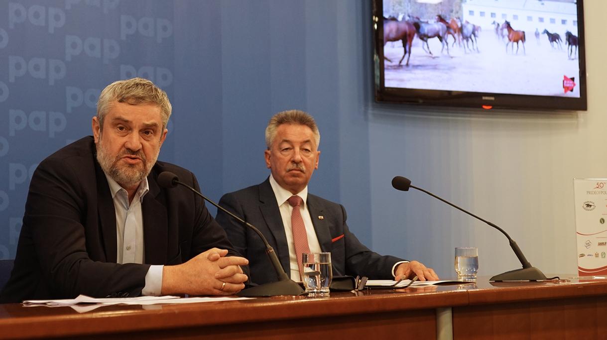 Minister Ardanowski oraz Grzegorz Pięta Dyrektor Generalny KOWR podczas konferencji