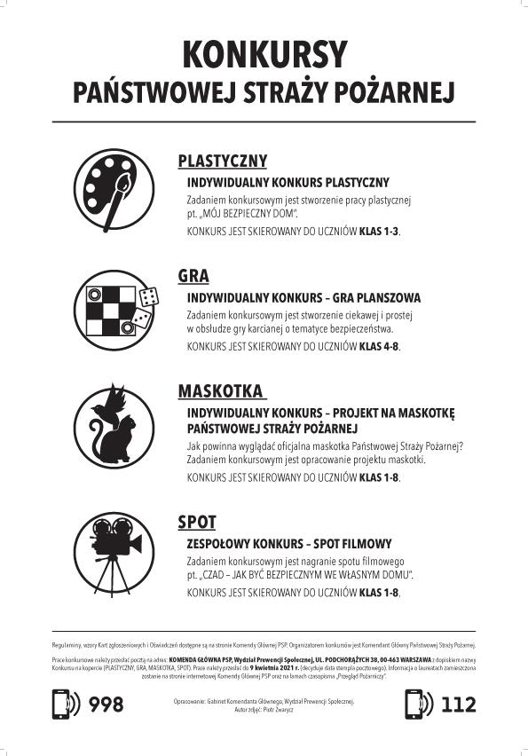Kalendarz plakatowy KG PSP na rok 2021– tył