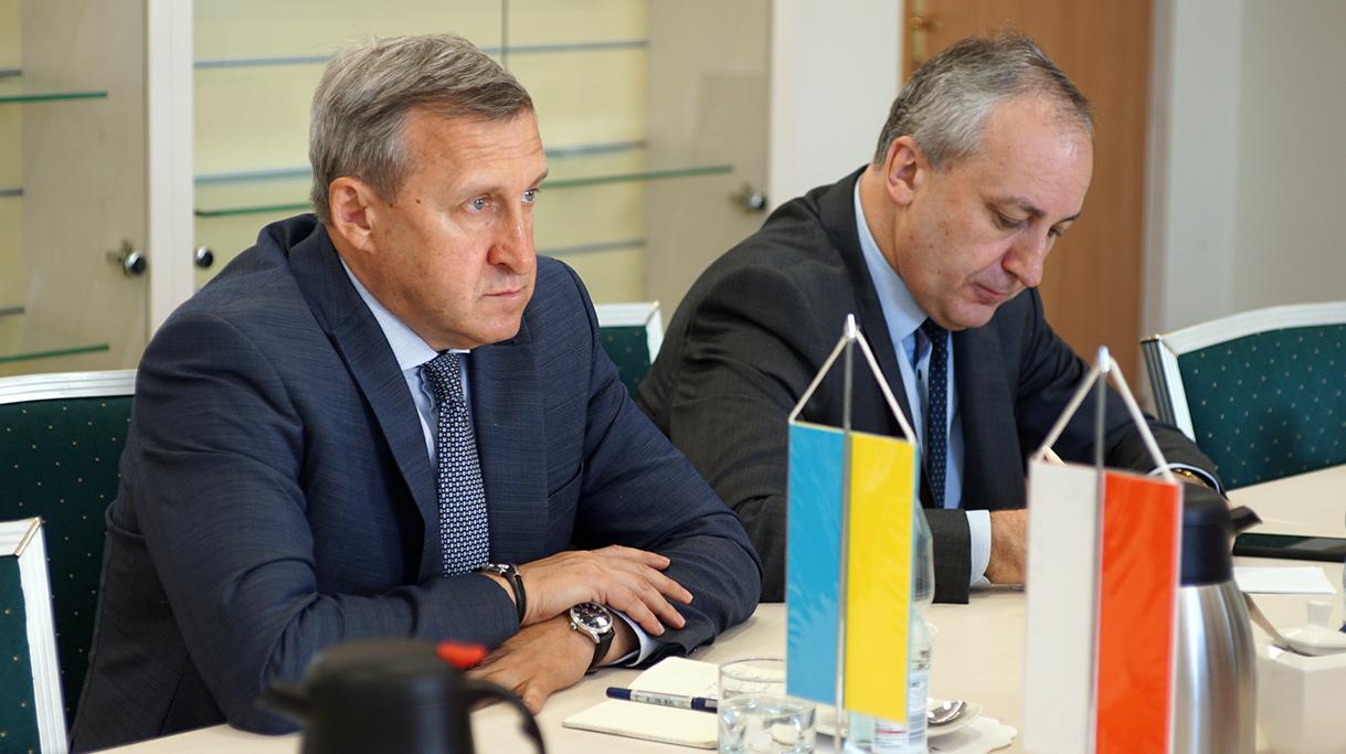 Ambasador Ukrainy Andrij Deszczyca podczas spotkania z ministrem