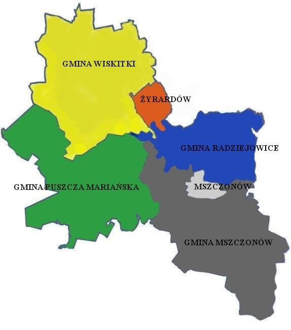 mapa powiatu żyrardowskiego