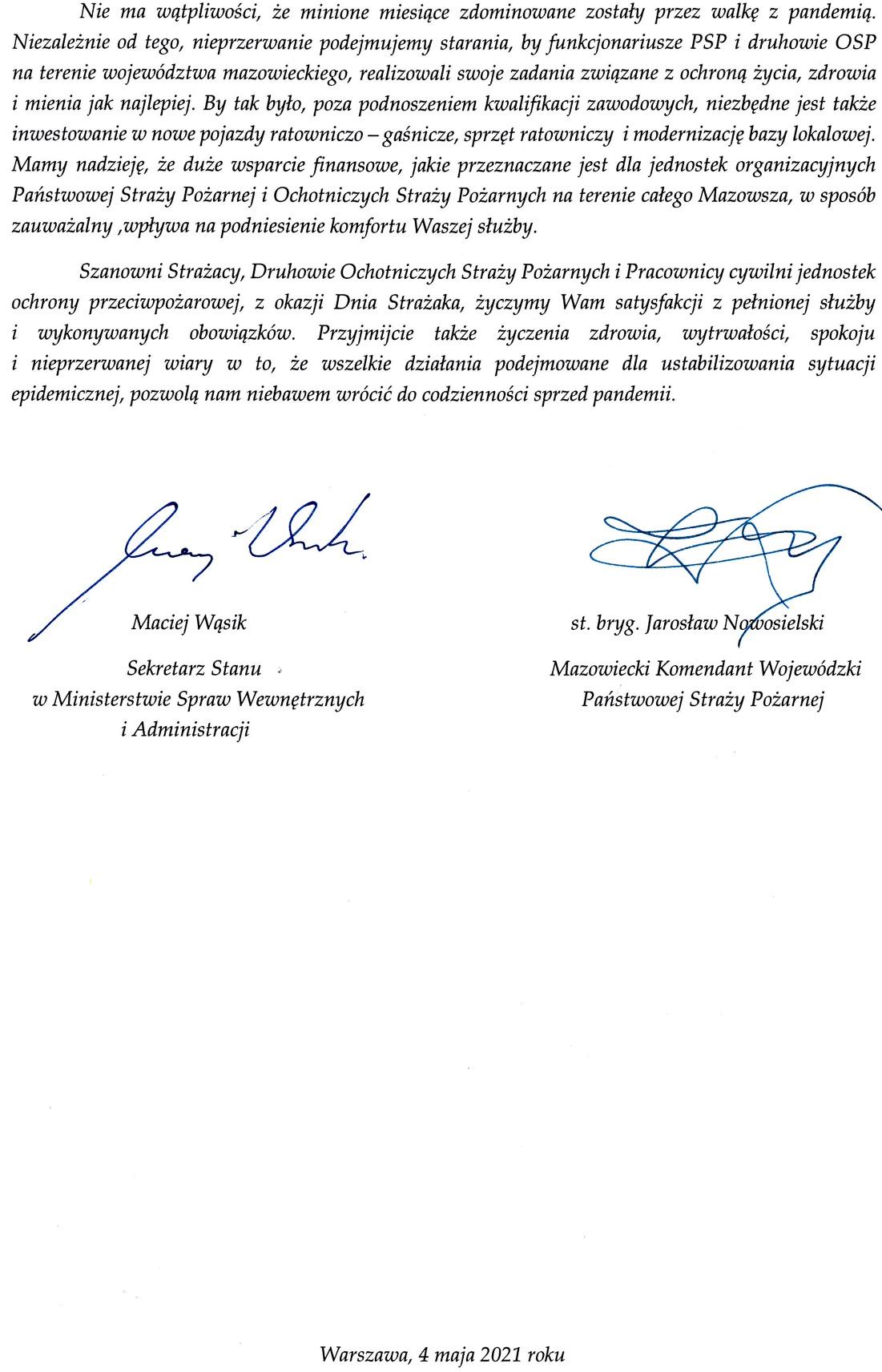 Życzenia Wiceministra Spraw Wewnętrznych i Administracji oraz Mazowieckiego Komendanta Wojewódzkiego PSP z okazji Dnia Strażaka