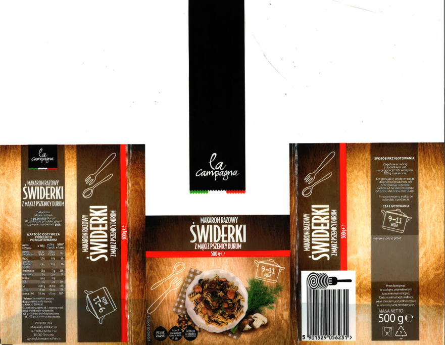 Makaron razowy świderki z mąki z pszenicy durum La Campagna 500 g
