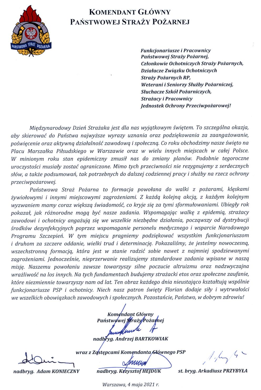 Życzenia z okazji Dnia Strażaka od kierownictwa KG PSP