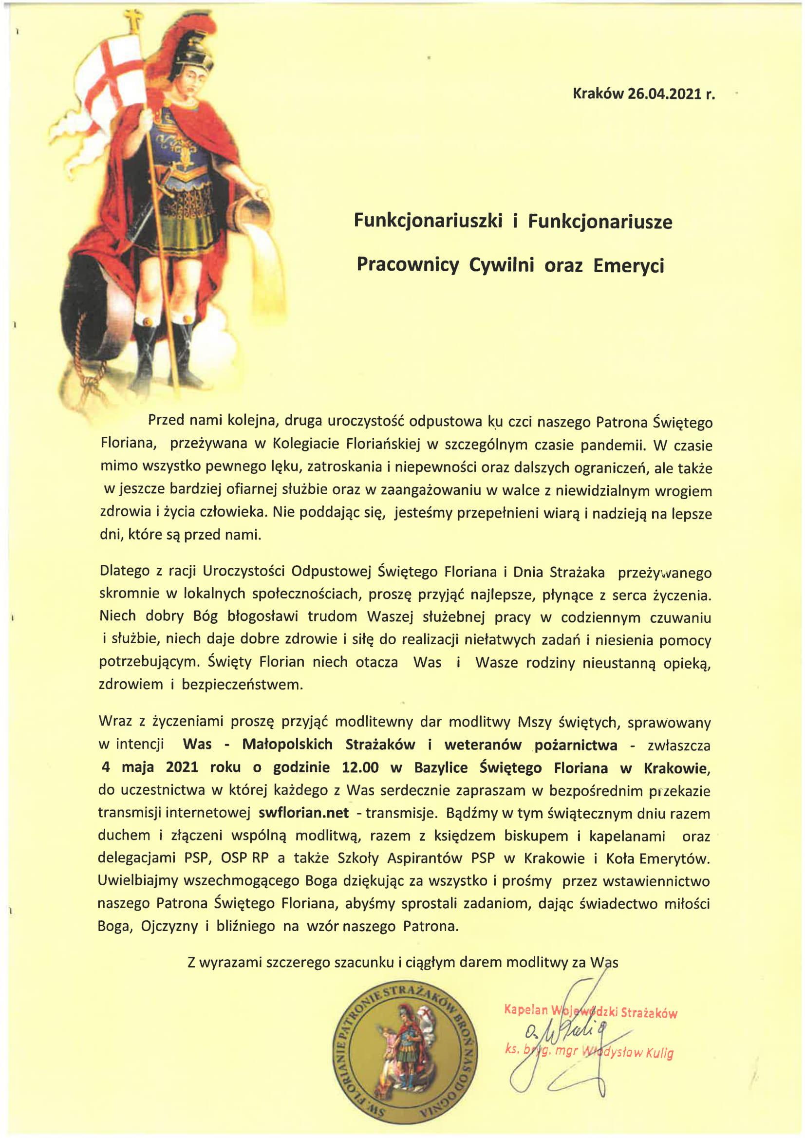 List Małopolskiego Kapelana Strażaków z okazji dnia strażaka 2021