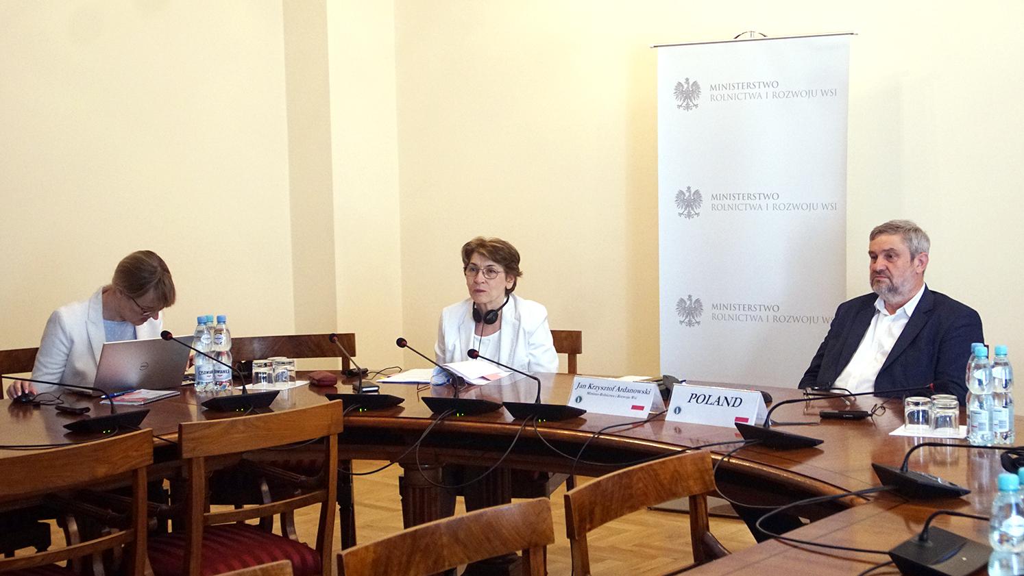 Polska delegacja podczas wideokonferencji