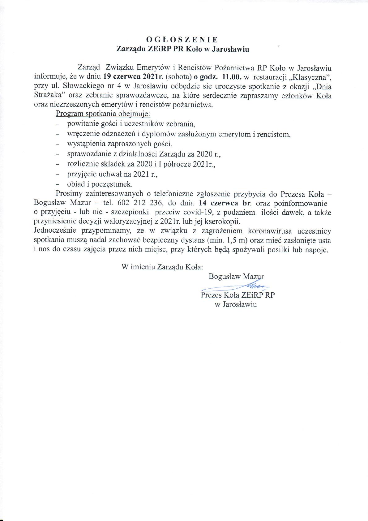 Ogłoszenie Zarządu ZEiRP RP Koło w Jarosławiu