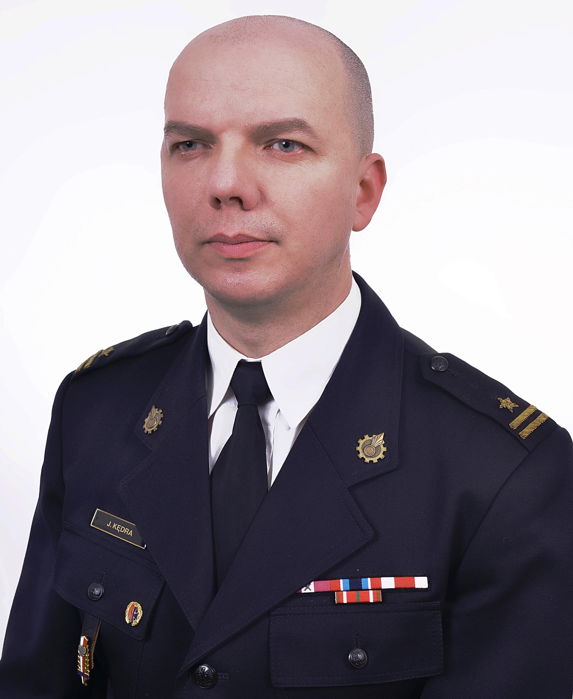 Dowódca jednostki ratowniczo-gaśniczej w Brzozowie mł. bryg. Jacek Kędra