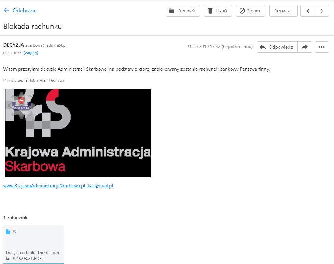 Zrzut fałszywego e-maila