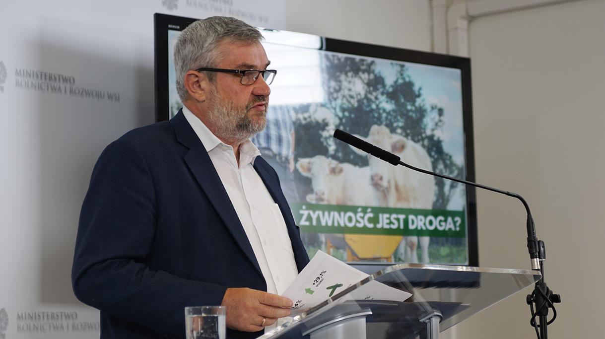 Minister J.K. Ardanowski podczas konferencji dotyczącej cen polskiej żywności