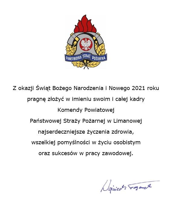 Życzenia KP PSP Limanowa