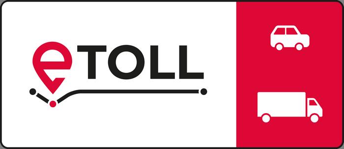 Oznakowanie pasów dla użytkowników systemu e-TOLL. Logo e-TOLL i piktogramy samochodu osobowego i ciężarowego na czerwonym tle.