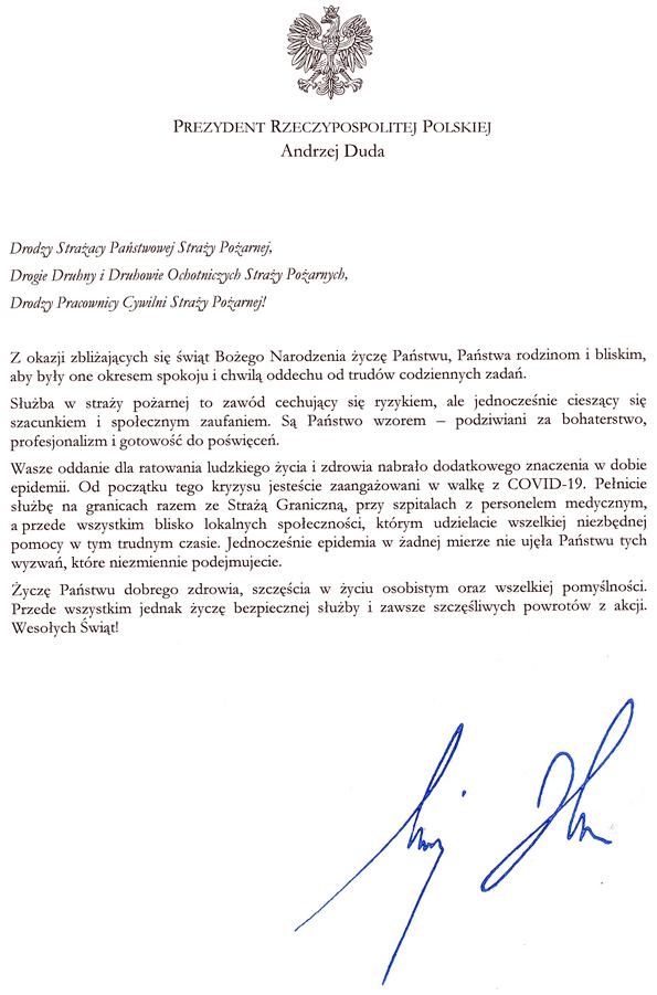 Życzenia Prezydenta RP dla PSP i OSP