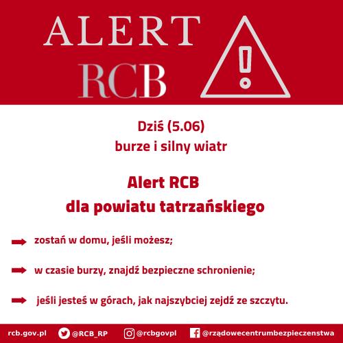 Alert RCB dla powiatu tatrzańskiego (5 czerwca) - zostań w domu jeśli możesz, w czasie burzy znajdź bezpieczne schronienie, jeśli jesteś w górach jak najszybciej zejdź ze szczytu.