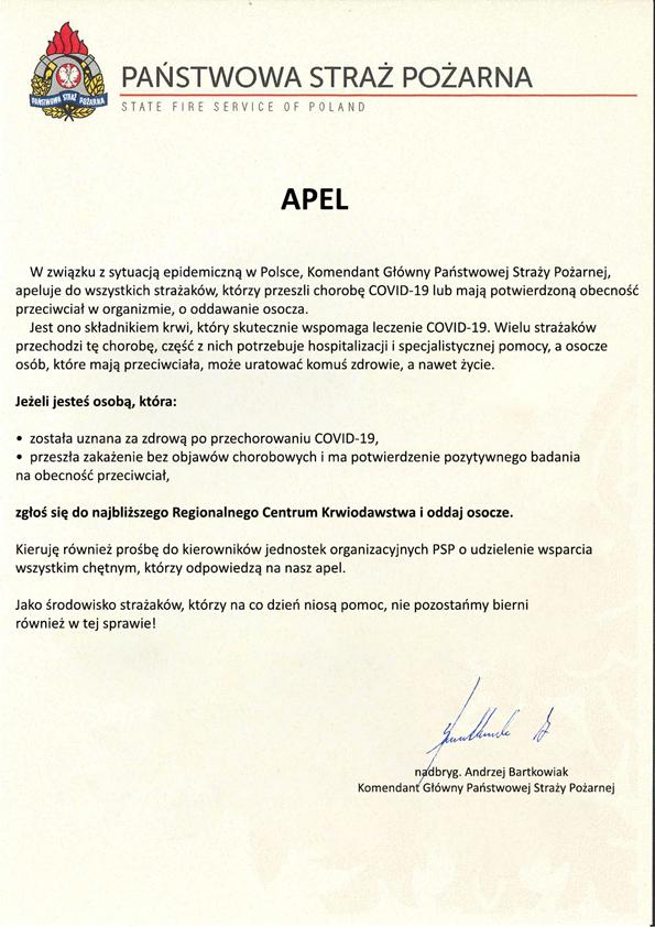 Na zdjęciu znajduje się tekst pisany apelu Komendanta Głównego PSP nadbryg. Andrzeja Bartkowiaka do strażaków o oddawanie osocza. W lewej górnej części blankietu znajduje się logo PSP