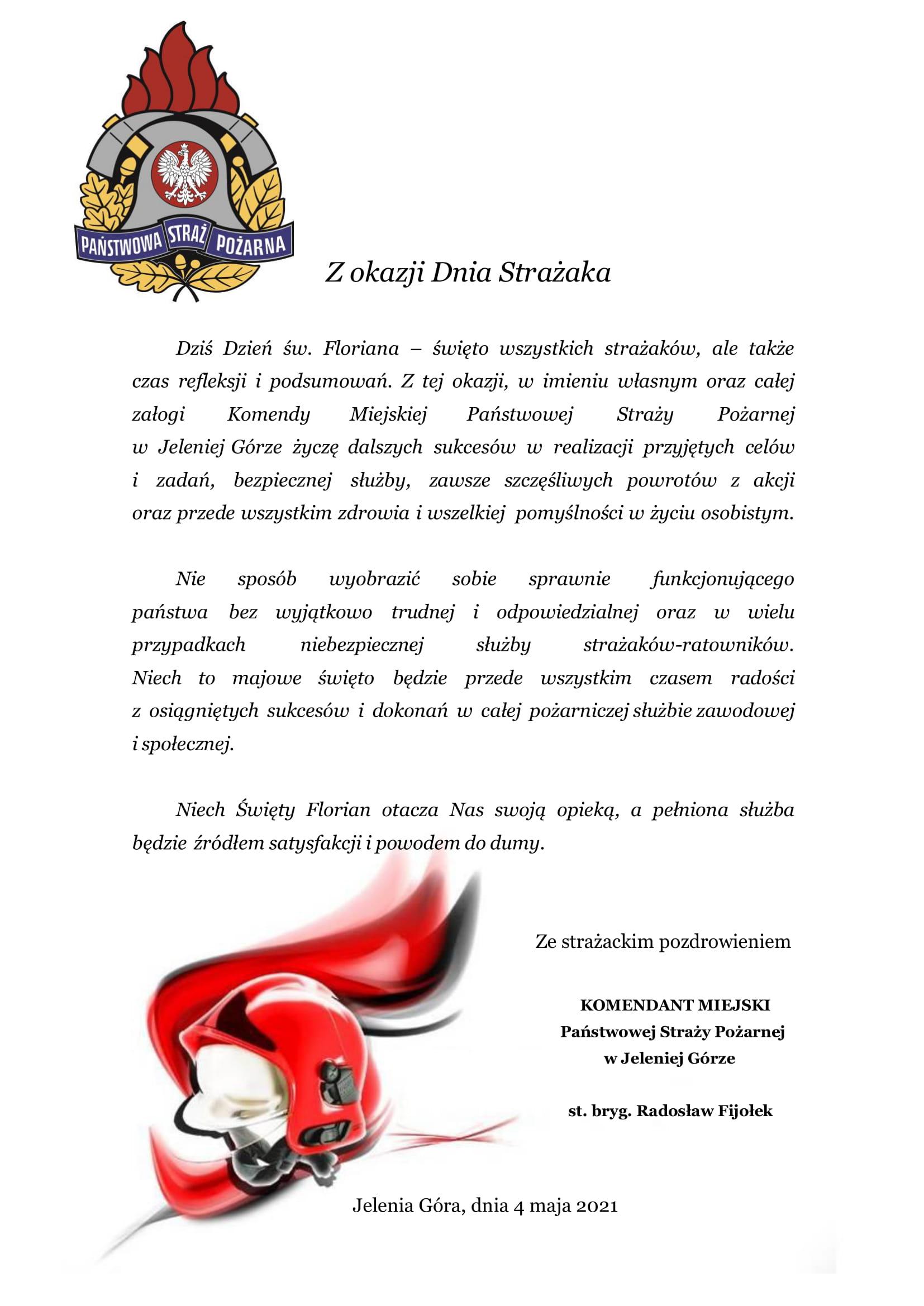 życzenia KM PSP Dzień Strażaka 2021