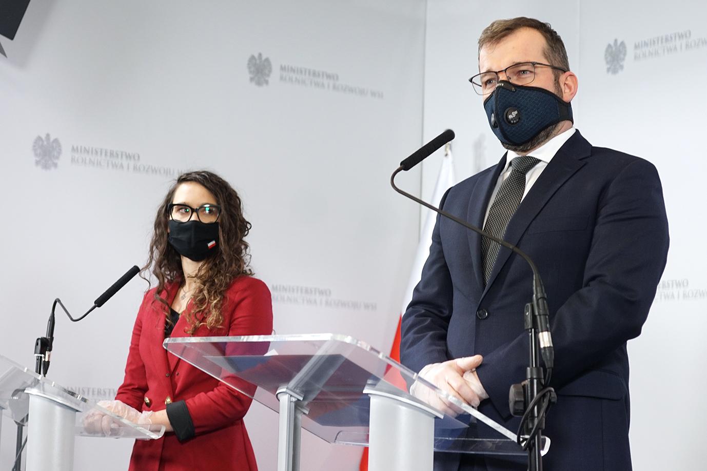 Minister Grzegorz Puda i Pełnomocnik Prezesa Rady Ministrów ds. GovTech Justyna Orłowska (Fot. MRiRW)