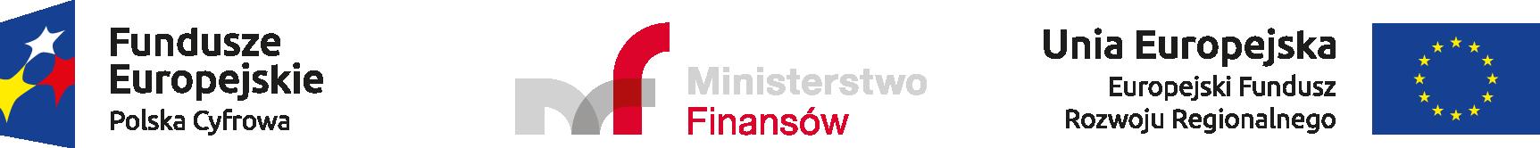 logo Fundusze Europejskie Polska Cyfrowa, logo Ministerstwo Finansów, logo Unia Europejska Europejski Fundusz Rozwoju Regionalnego