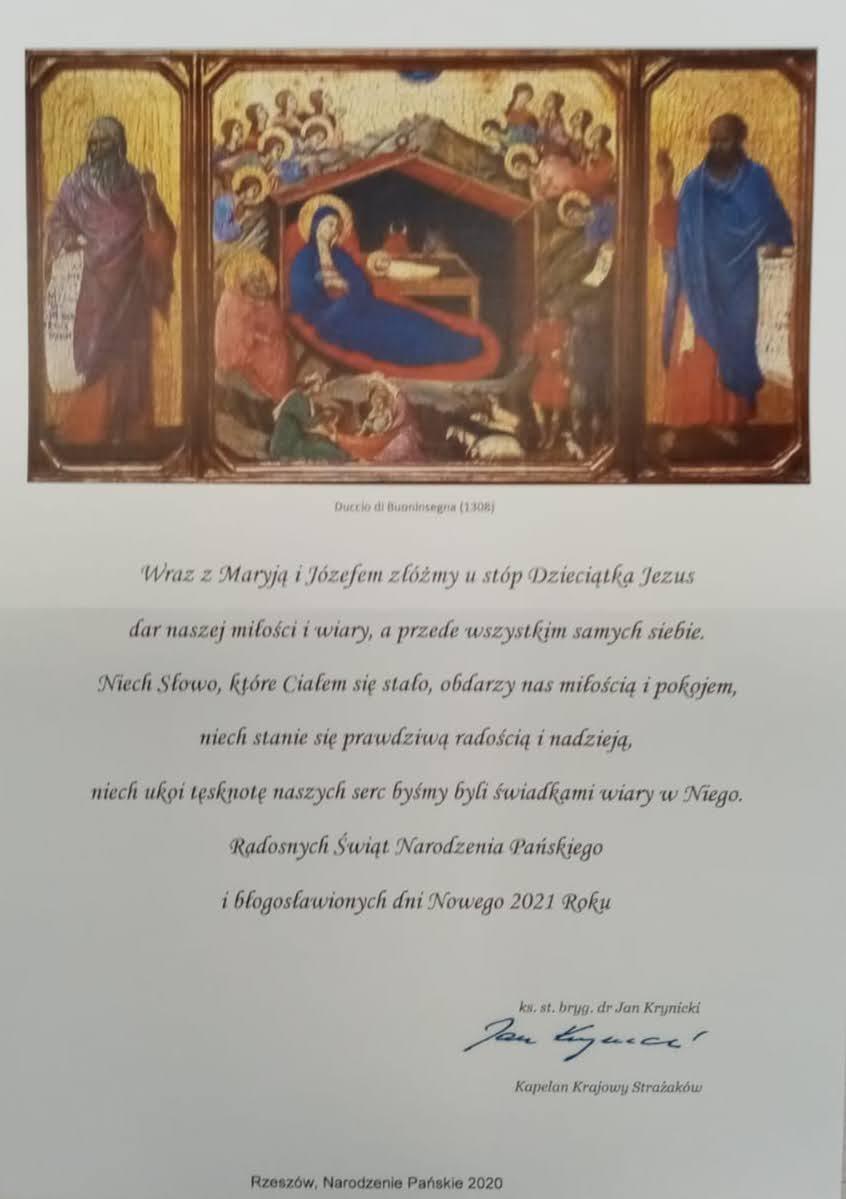 Życzenia Świąteczno-Noworoczne Kapelana Krajowego Strażaków