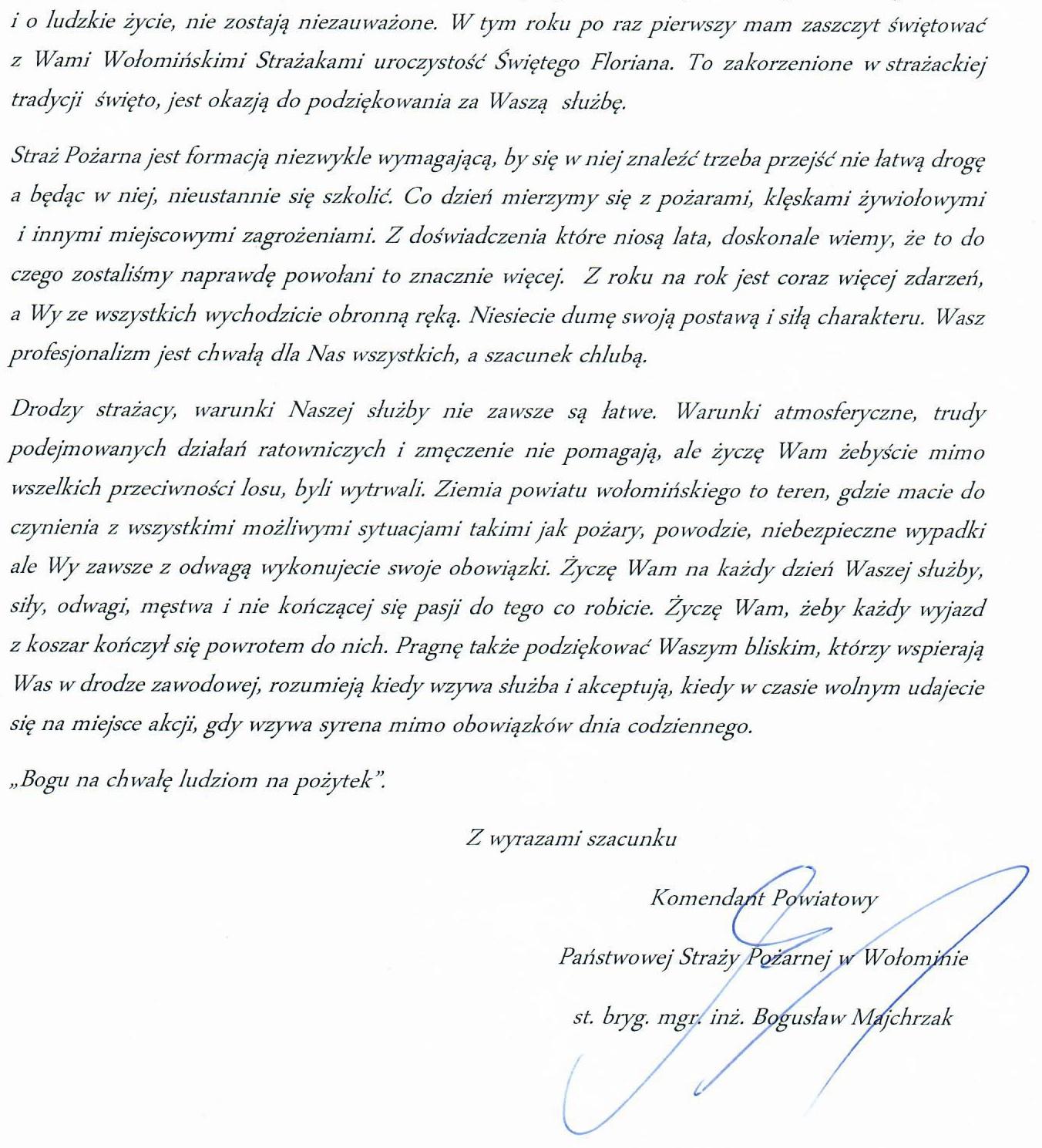 List Komendanta Powiatowego PSP w Wołominie z okazji Dnia Strażaka