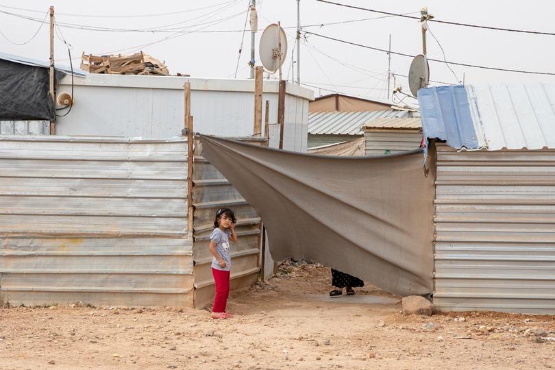A girl in a refugee camp in Jordan