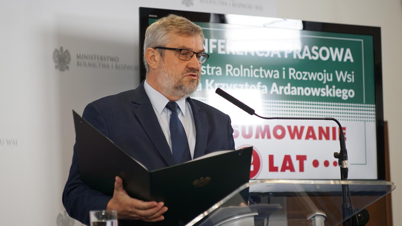 Minister J.K. Ardanowski podczas wystąpienia