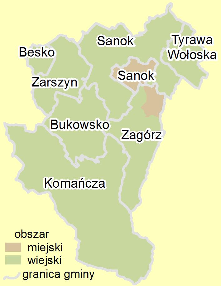 Rejon działania KP PSP Sanok