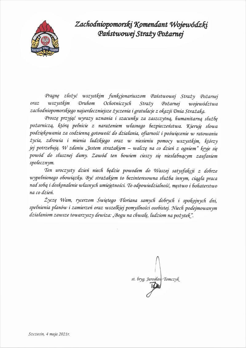 Życzenia Zachodniopomorskiego Komendanta Wojewódzkiego PSP na Dzień Strażaka 2021