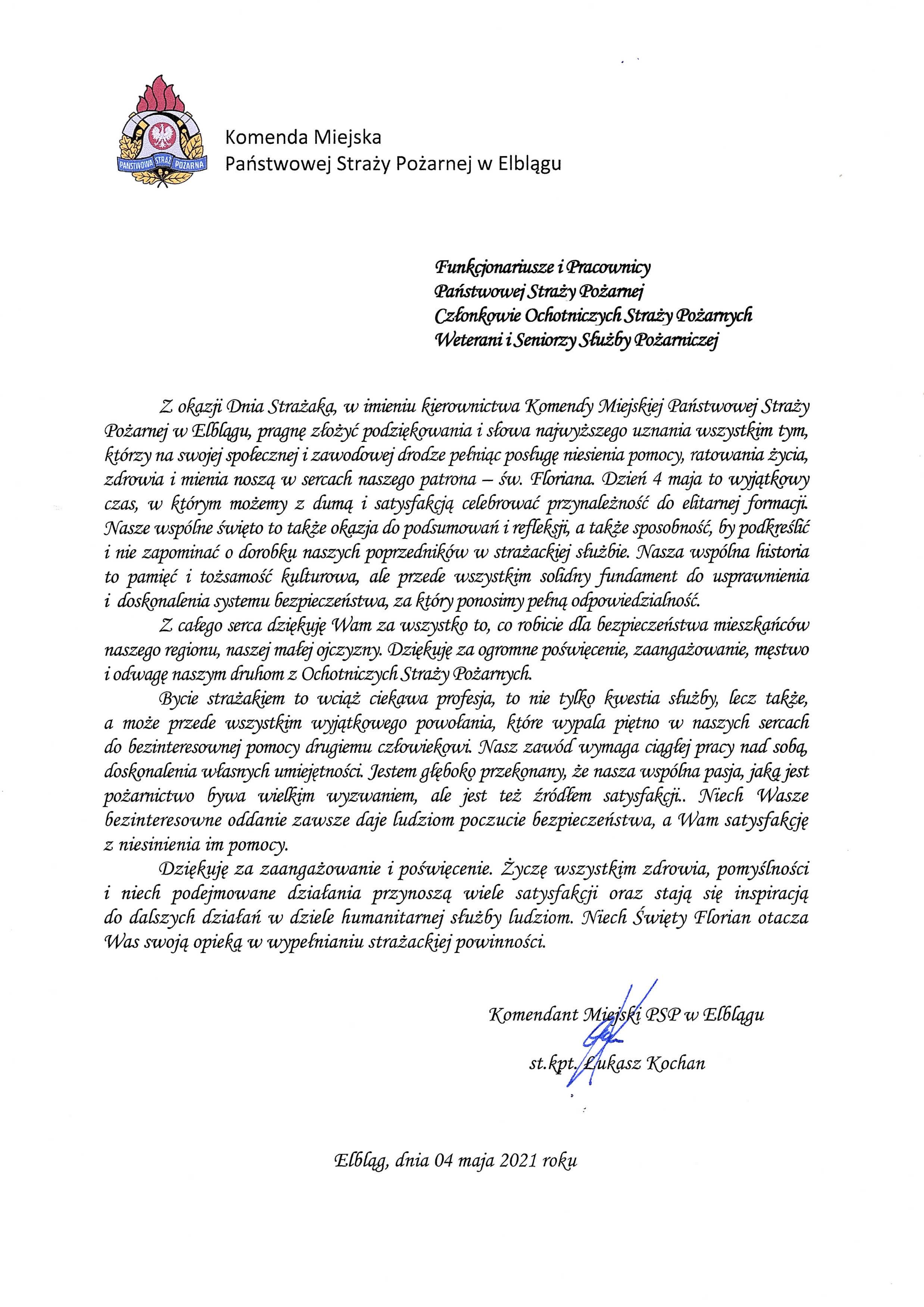 Tekst z życzeniami z okazji dnia strażaka Komendanta Miejskiego Państwowej Straży Pożarnej w Elblągu