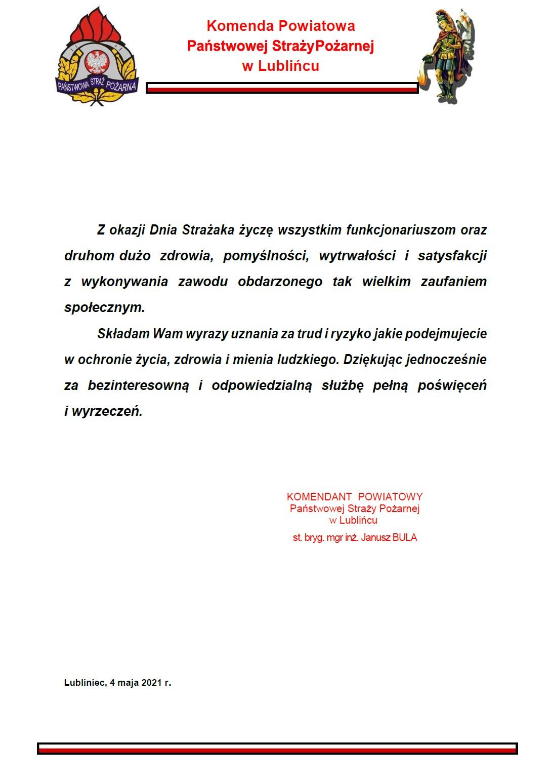życzenie KP PSP w Lublińcu