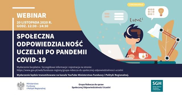 Webinar na temat społeczna odpowiedzialność uczelni po pandemii covid-19