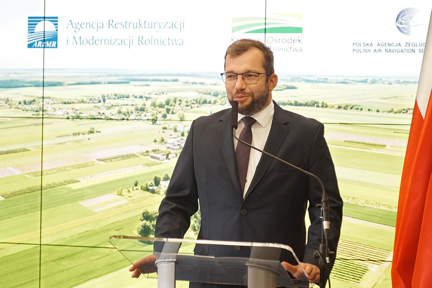 Minister Grzegorz Puda podczas wystąpienia (fot. MRiRW)