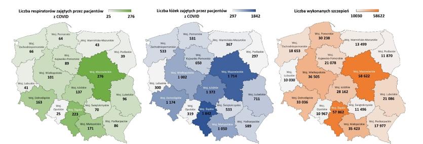 Liczba zajętych respiratorów, łóżek i szczepień w podziale na województwa – 14.05