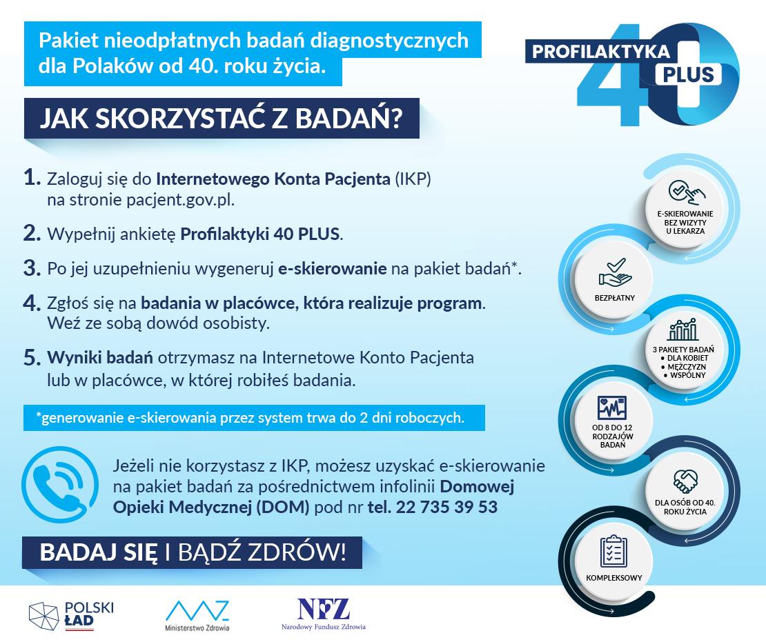 Plakat opisujący program badań profilaktycznych.