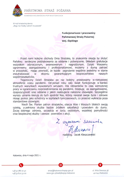 Życzenia Śląskiego Komendanta Wojewódzkiego z okazji Dnia Strażaka