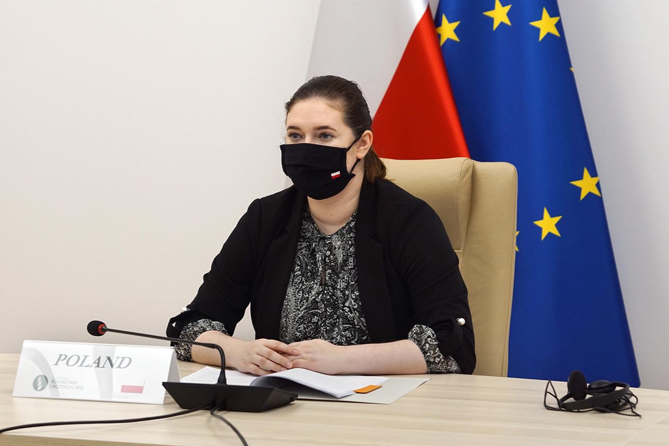 Berliński Szczyt Ministrów Rolnictwa. Wiceminister Anna Gembicka podczas wideokonferencji (fot. MRiRW)