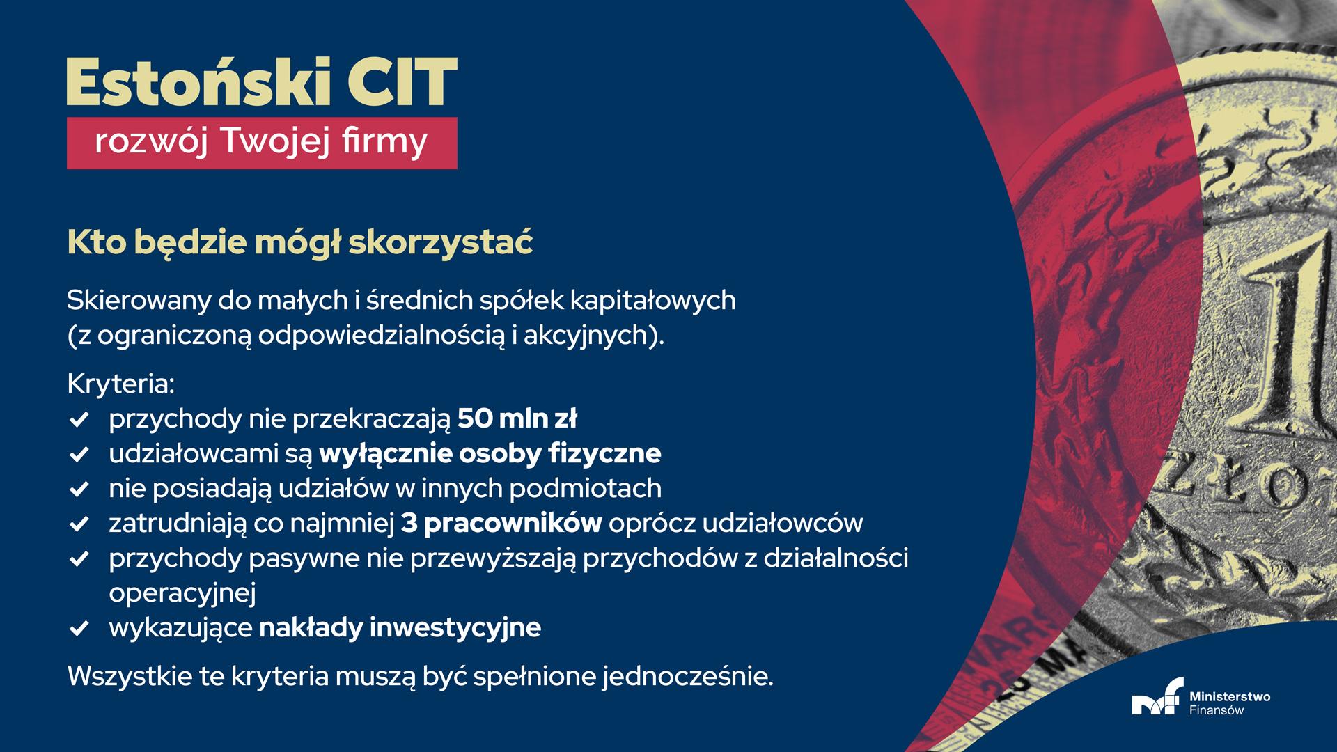 Informacja kto będzie mógł skorzystać z estońskiego CIT