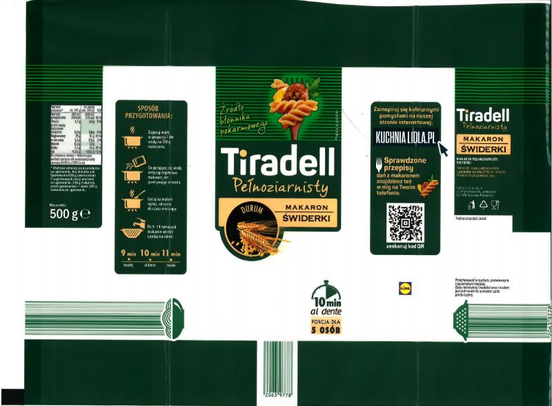 Makaron pełnoziarnisty Tiradell świderki 500 g